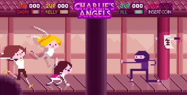 Screenshot of the Charlie's Angels sequence 8-bit style from the Fox Retro Animation video.