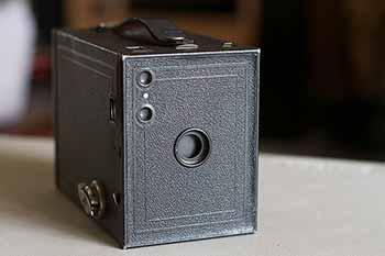 Photo of an Eastman Kodak Brownie No. 2 camera.