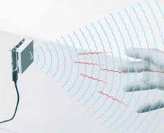 Diagram of how the new Google radar sensor interacts with the human hand.