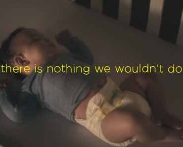 "Photo of sleeping baby from Pampers ""Hush Little Baby"" advertisement."