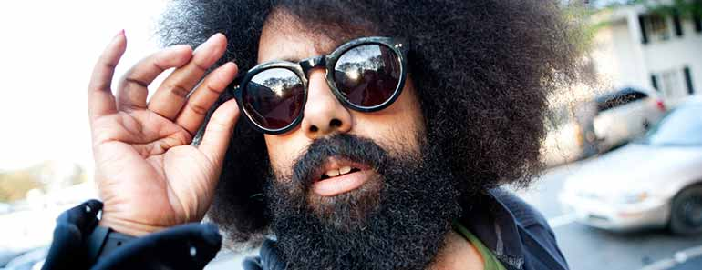 Photo of Reggie Watts outside the PopTech Conference.