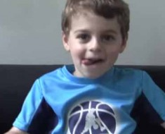 Photo of 4-year-old basketball trick shot master Zack Weinberger.