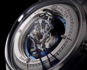 Photo of a Vianney Halter Deep Space Tourbillon timepiece.