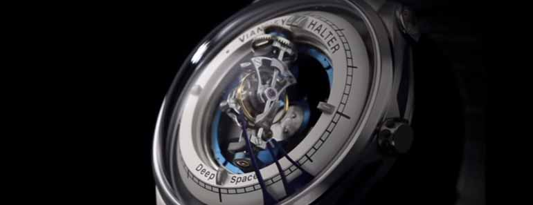 Photo of a Vianney Halter Deep Space Tourbillon timepiece.