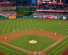 Photo of night game at Nationals Park.